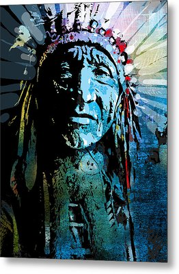 Sioux Chief Metal Print by Paul Sachtleben