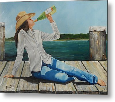 Sippin' On The Dock Of The Bay Metal Print by Patricia DeHart