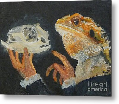 Sir Bearded-dragon As Hamlet Metal Print by Jessmyne Stephenson