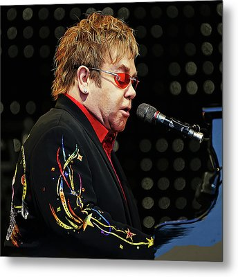 Sir Elton John At The Piano Metal Print by Elaine Plesser