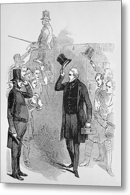 Sir Robert Peel Arriving At The House Of Commons Metal Print by English School