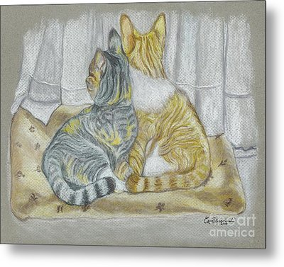 Metal Print featuring the drawing Sisters  by Carol Wisniewski