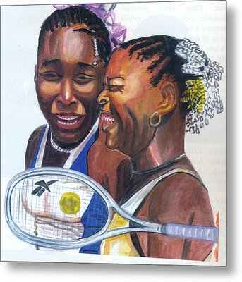 Metal Print featuring the painting Sisters Williams by Emmanuel Baliyanga