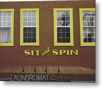 Sit And Spin Laundromat Color- By Linda Woods Metal Print by Linda Woods