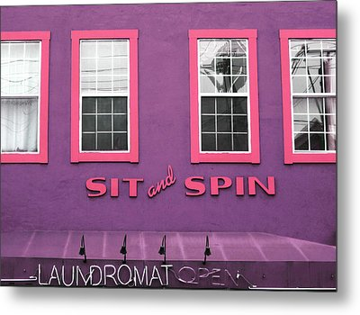 Sit And Spin Laundromat Purple- By Linda Woods Metal Print