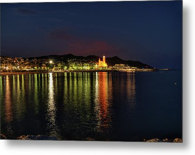 Metal Print featuring the photograph Sitges Night 001 by Lance Vaughn