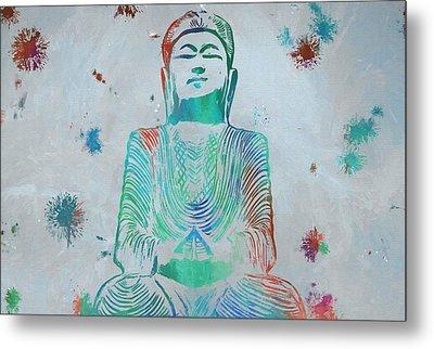 Sitting Buddha Paint Splatter Metal Print by Dan Sproul