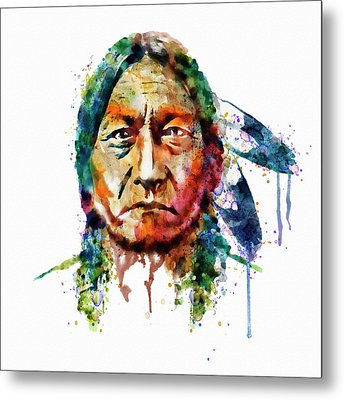 Sitting Bull Watercolor Painting Metal Print by Marian Voicu