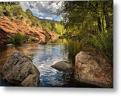 Metal Print featuring the photograph Sitting Creekside Oak Creek  by Saija Lehtonen