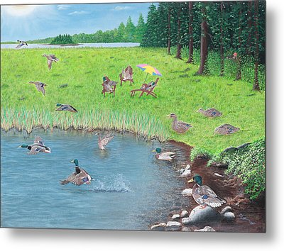 Metal Print featuring the painting Sitting Ducks by Cindy Lee Longhini
