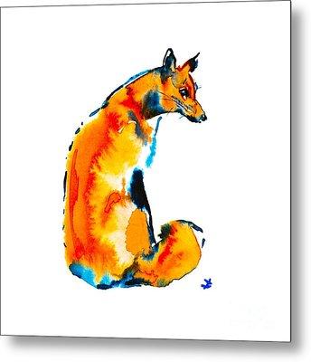 Metal Print featuring the painting Sitting Fox by Zaira Dzhaubaeva