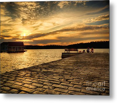 Sitting On The Dock Of The Lake Metal Print by Mark Miller