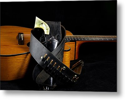 Six Gun And Guitar On Black Metal Print by M K  Miller