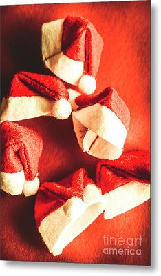 Six Santa Hats In Vintage Tone Metal Print by Jorgo Photography - Wall Art Gallery
