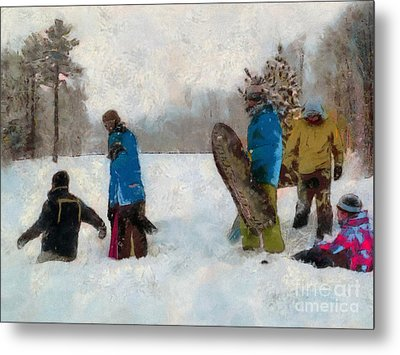 Six Sledders In The Snow Metal Print by Claire Bull