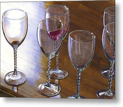 Six Wine Glasses Metal Print by Catherine G McElroy