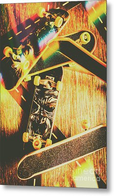 Skateboarding Tricks And Flips Metal Print