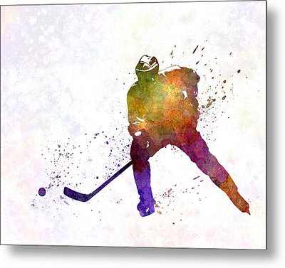 Skater Of Hockey In Watercolor Metal Print