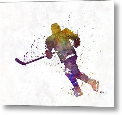 Skater With Stick In Watercolor Metal Print by Pablo Romero