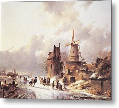 Skaters On A Frozen River Metal Print