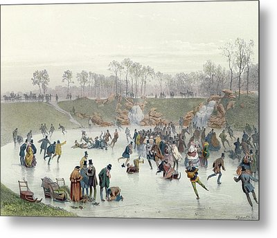 Skaters On The Lake At Bois De Boulogne Metal Print by Ice Skaters on the Lake at Bois de Boulogne