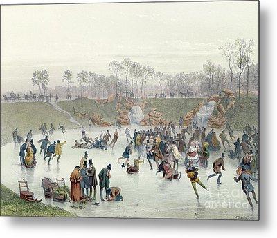 Skaters On The Lake At Bois De Boulogne Metal Print