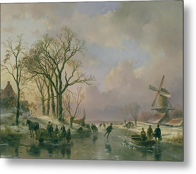Skating In Holland Metal Print
