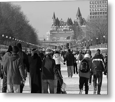 Skating The Ridea Canal Metal Print by Richard Mitchell