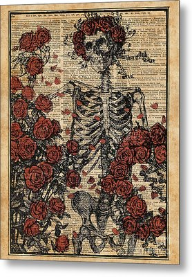 Skeleton Art, Skeleton With Roses Book Art,human Anatomy Metal Print