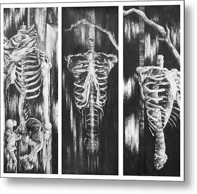 Skeletons In Black Metal Print by Nathan Bishop