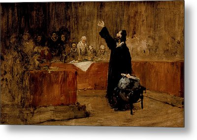 Sketch For Columbus Before The Council Of Salamanca Metal Print by William Merritt Chase