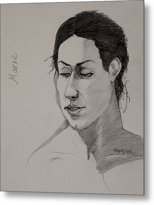 Metal Print featuring the drawing Sketch For Marie 2 by Ray Agius