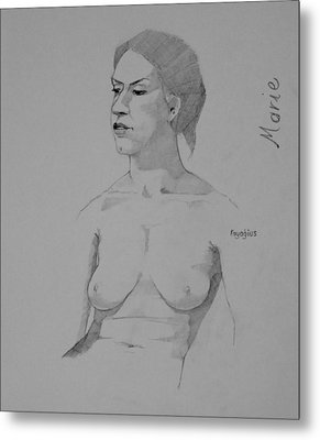 Metal Print featuring the drawing Sketch For Marie Seated by Ray Agius