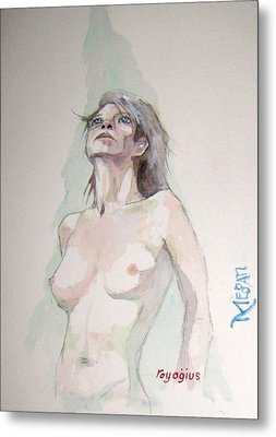Metal Print featuring the painting Sketch For Megan Iv by Ray Agius