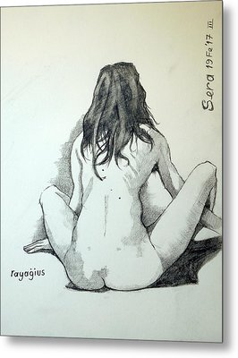 Metal Print featuring the painting Sketch For Sera.10.02 by Ray Agius