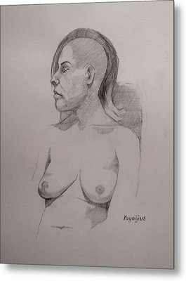 Metal Print featuring the drawing Sketch For Sitting Cassie by Ray Agius