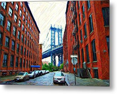 Sketch Of Dumbo Neighborhood In Brooklyn Metal Print by Randy Aveille