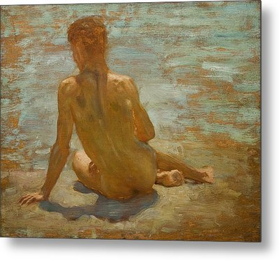 Sketch Of Nude Youth Study For Morning Spelendour Metal Print by Henry Scott Tuke