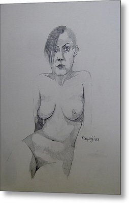 Metal Print featuring the drawing Sketch Reclining Cassie by Ray Agius