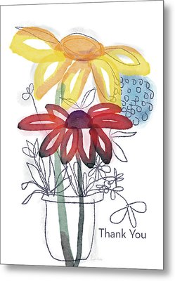 Sketchbook Flowers Thank You- Art By Linda Woods Metal Print by Linda Woods