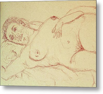 Nude Laying In Red Metal Print by Rand Swift