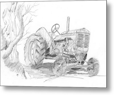 Sketchy Tractor Metal Print by David King