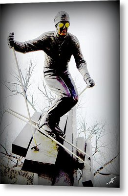 Ski On The Edge Metal Print