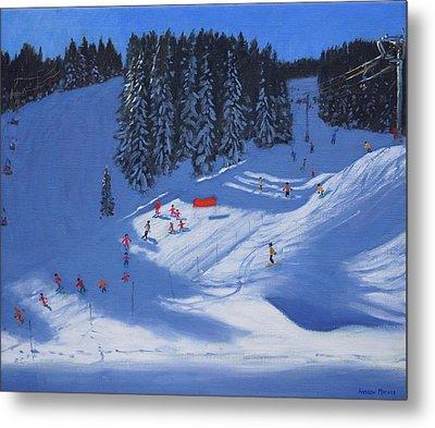 Ski School Morzine Metal Print by Andrew Macara