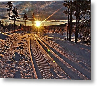 Ski Trails With Sun Beams Metal Print