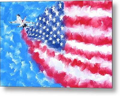 Metal Print featuring the mixed media Skies Over America by Mark Tisdale