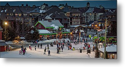 Skiing At The Village Metal Print by Jeff S PhotoArt