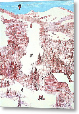 Skiing Deer Valley Utah Metal Print by Richard W Linford