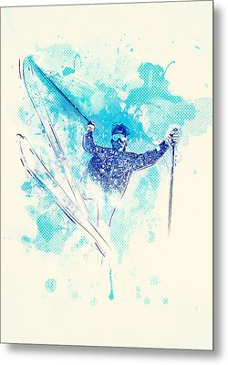 Skiing Down The Hill Metal Print