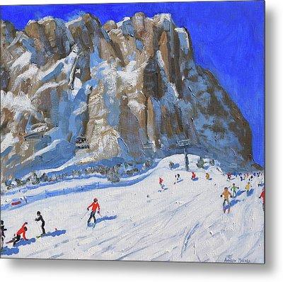 Skiing Down The Mountain,selva Gardena Metal Print
